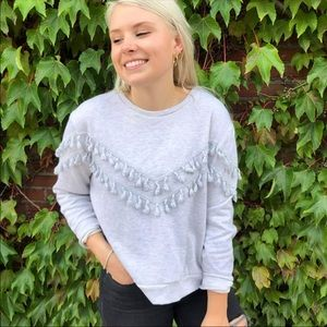 Dress Forum grey sweater tassel sweatshirt large